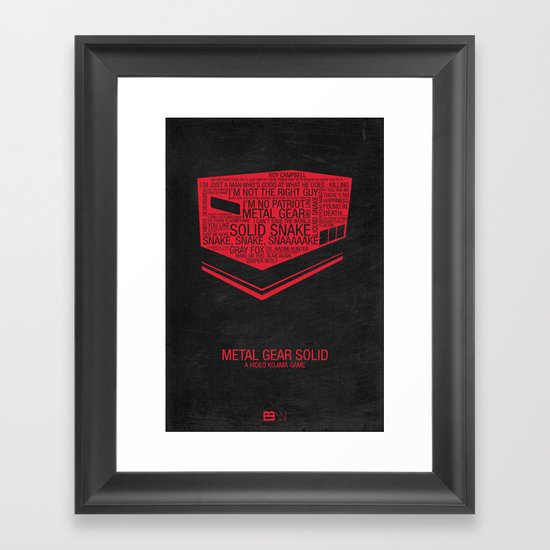 Metal Gear Solid Typography Framed Art Print