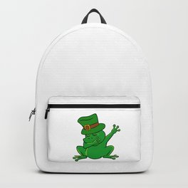 Dabbing St Patrick_s Day Frog Leprechaun Pot Of Gold Backpack