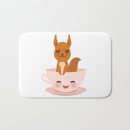 Cute Kawai pink cup with red squirrel Bath Mat