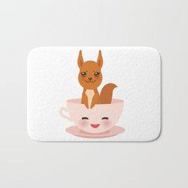Cute Kawai pink cup with red squirrel Bath Mat