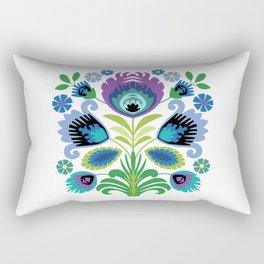 Polish Folk Flowers Purple Rectangular Pillow