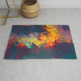 SMILE a cornucopia of colour dancing in flames Rug
