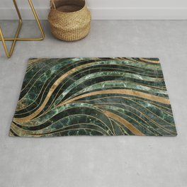 Green marble Wavy Pattern Rug