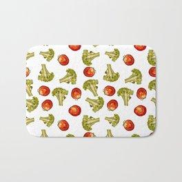 Broccoli and tomato Bath Mat