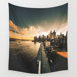 nyc skyline at dusk Wall Tapestry