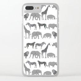Safari animals minimal grey and white zebra giraffe cheetah hippo rhino nursery Clear iPhone Case