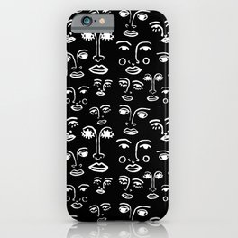Funky Faces in Black iPhone Case