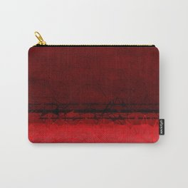 Deep Ruby Red Ombre with Geometrical Patterns Carry-All Pouch