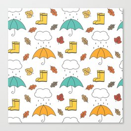 cute lovely autumn pattern with umbrellas, rain, clouds, leaves and boots Canvas Print