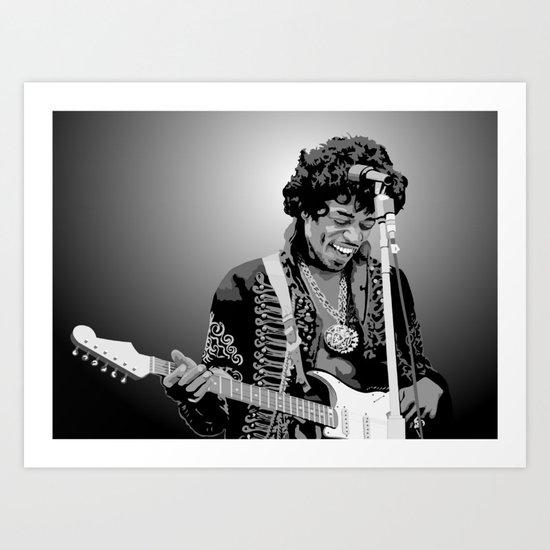 Jimi Hendrix Black And White Illustration by limitlessdesign