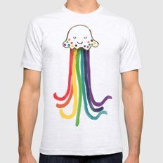 Rainbow Jellyfish Mens Fitted Tee Ash Grey LARGE