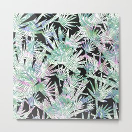 Tropical watercolor pink green palm leaves floral Metal Print