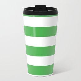 Even Horizontal Stripes, Green and White, L Travel Mug