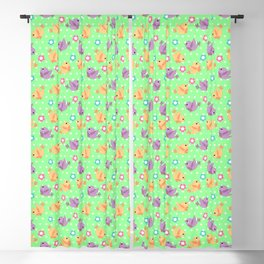 Freely Birds Flying - Fly Away Version 2 - Chartreuse Color Blackout Curtain