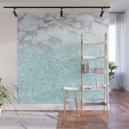 Pretty Turquoise Sparkles on Gray and White Marble Wall Mural