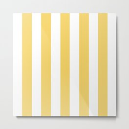 Orange-yellow (Crayola) - solid color - white vertical lines pattern Metal Print