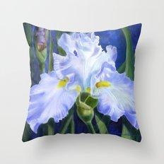Blue Ruffles Throw Pillow