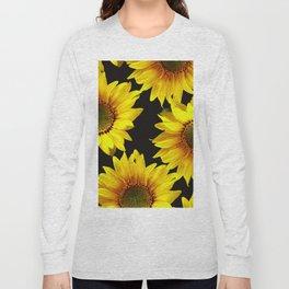 Large Sunflowers on a black background - #Society6 #buyart Long Sleeve T-shirt