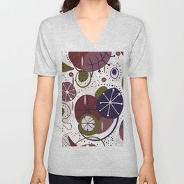 Active wear abstract pattern doodle artistic pattern Unisex V-Neck
