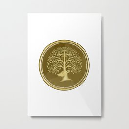 Deer Head Tree Antler Gold Coin Retro Metal Print