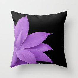 Agave Finesse #10 - Purple on Black #tropical #decor #art #society6 Throw Pillow