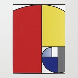 Mondrian vs Fibonacci Poster