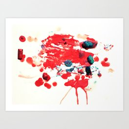 Red Chaos - Abstract Melted Crayon Art Art Print