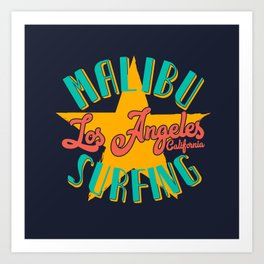 Malibu Surfing Art Print