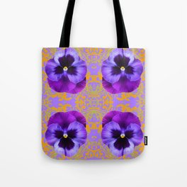 FOUR  PURPLE PANSIES ON LILAC  BROCADE GARDEN Tote Bag