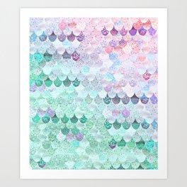 SUMMER MERMAID - CORAL MINT Art Print
