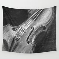 violin Wall Tapestries featuring Violin  by Renny Hendra