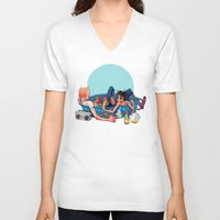 pool V-neck T-shirts featuring pool party by musa