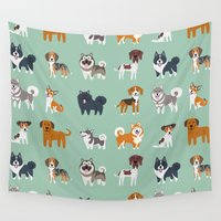 nordic Wall Tapestries featuring NORDIC DOGS by DoggieDrawings