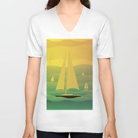 sailing V-neck T-shirts featuring Sailing by Chris Cooch