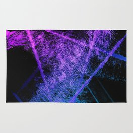 Colorful Abstract Brushstrokes on Black Background Rug