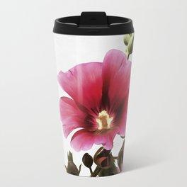 Pink Hollyhock Travel Mug