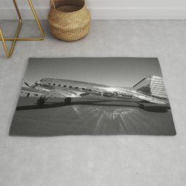 Douglas DC-3 Dakota Military Art Deco Airplane black and white photograph / art photography by Brian Burger Rug