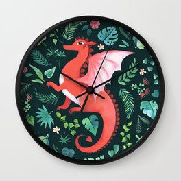 Tropical Dragon Wall Clock