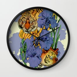Tigers and Irises Wall Clock