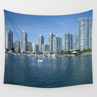 vancouver Wall Tapestries featuring Vancouver Skyline by Adam Stuart