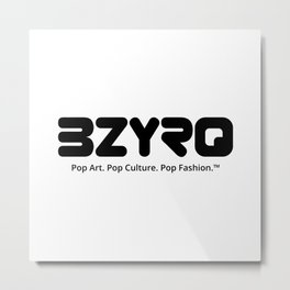 BZYRQ Logo (Black on White) Metal Print