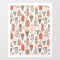 ice Art Prints featuring Ice Cream Season by Andrea Lauren Design