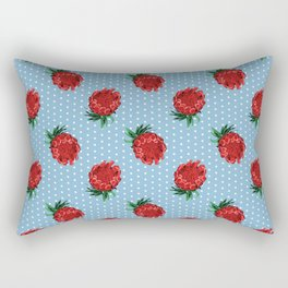 Beautiful Protea Pattern - White Polka Dots on Blue - Australian Native Flowers Rectangular Pillow