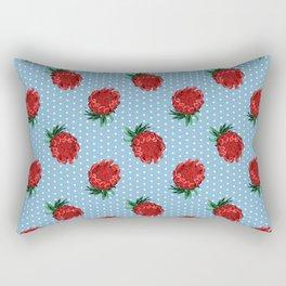 Beautiful Protea Pattern - White Polka Dots on Blue - Australian Native Flowers Rectangular Pillow