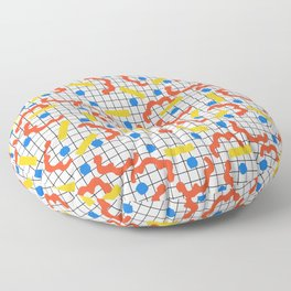 Primal - memphis throwback squiggle circle geometric grid lines dots trendy hipster 80s retro cool Floor Pillow