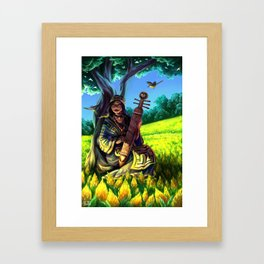 Ainu Woman with Wagtails Framed Art Print