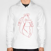 anatomical heart Hoodies featuring Anatomical heart by Laurel Howells