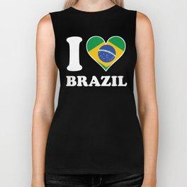 I Love Brazil Brazilian Flag Heart Biker Tank