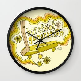 barefoot generation retro skate // art by surfy birdy Wall Clock