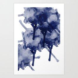 Indigo Blue Abstract Art Modern Splash RegiaArt Art Print